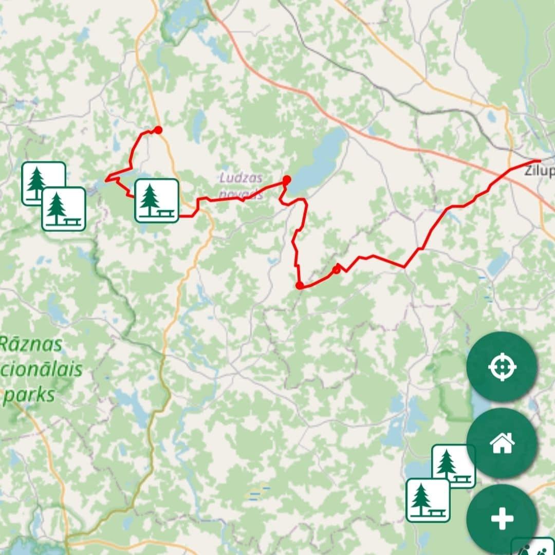 LVM GEO Aplikācija ar Mežu karti, LVM atpūtas vietām un GPX sliedi