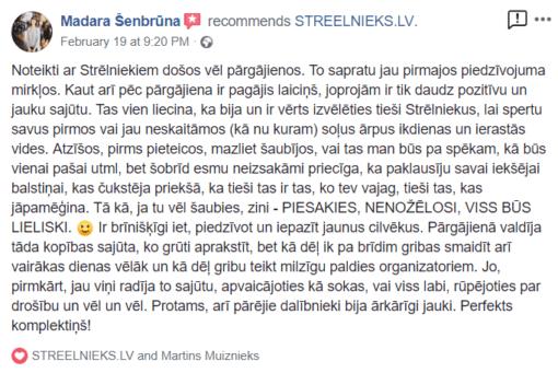 STREELNIEKS.LV Atsauksme - Pārgājieni latvijā